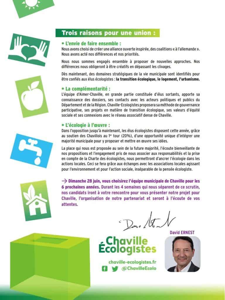Tract Chaville Écologistes du second tour des municipales 2020 (verso)