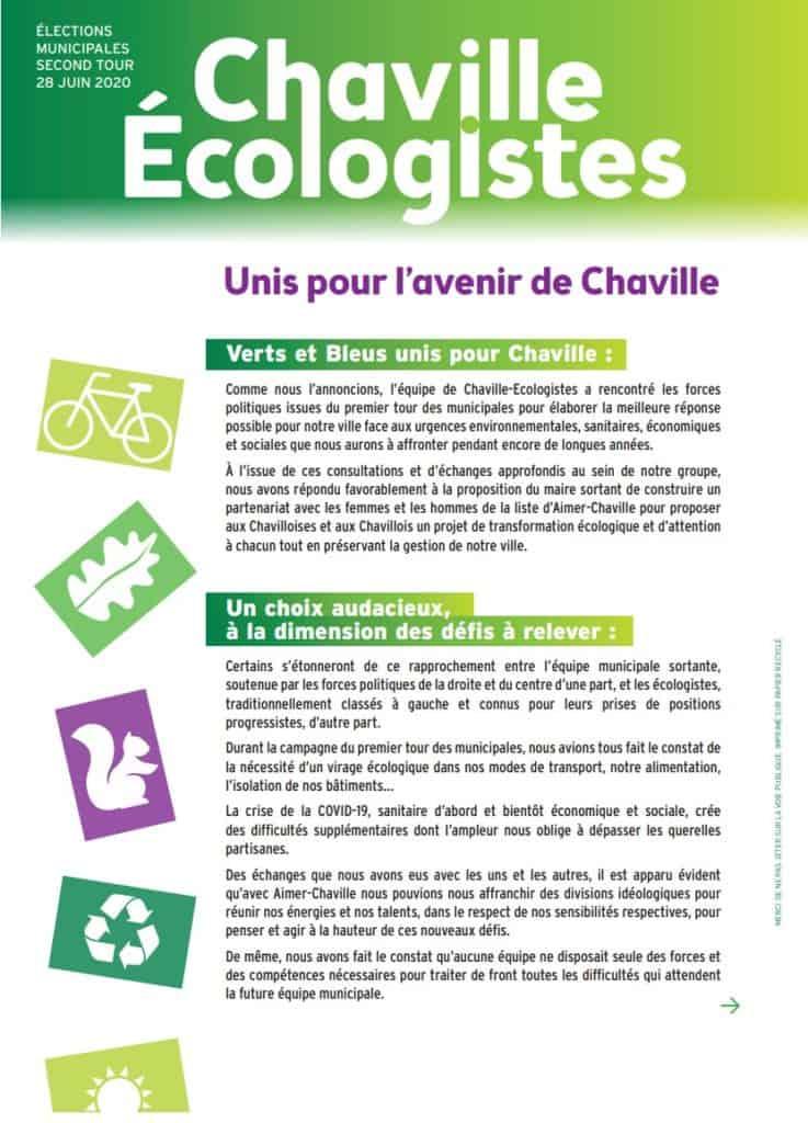 Tract Chaville Écologistes du second tour des municipales 2020 (recto)